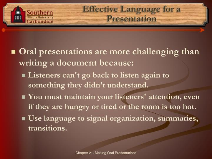 Effective Language for a Presentation