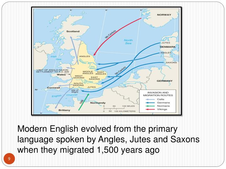 Modern English evolved from the primary language spoken by Angles, Jutes and Saxons when they migrated 1,500 years ago