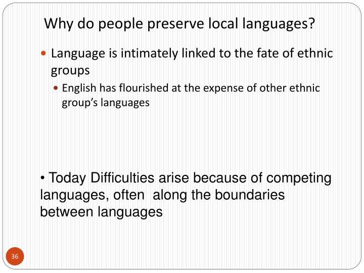 Why do people preserve local languages?