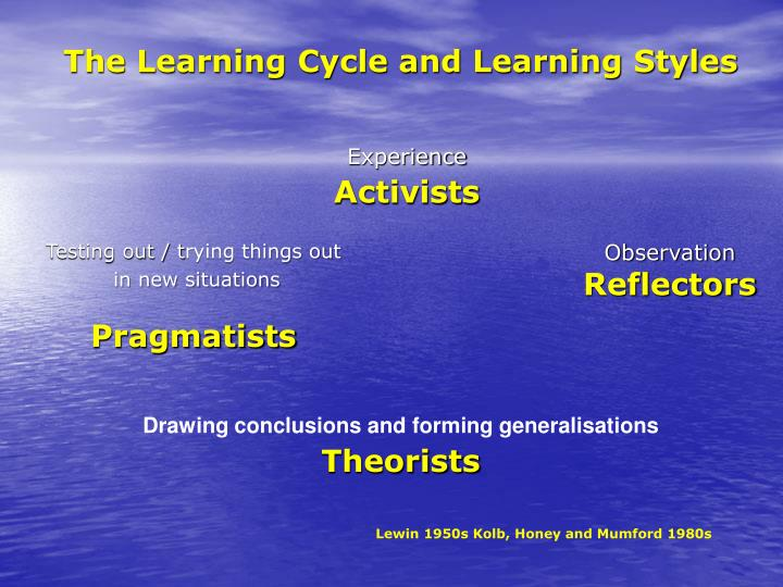 The Learning Cycle and Learning Styles