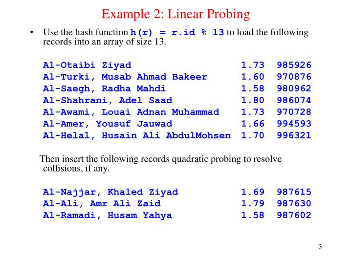 Example 2 linear probing