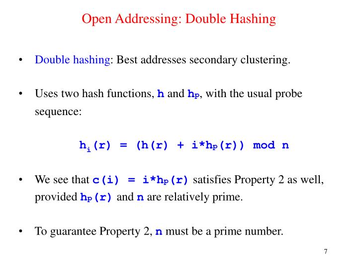 Open Addressing: Double Hashing