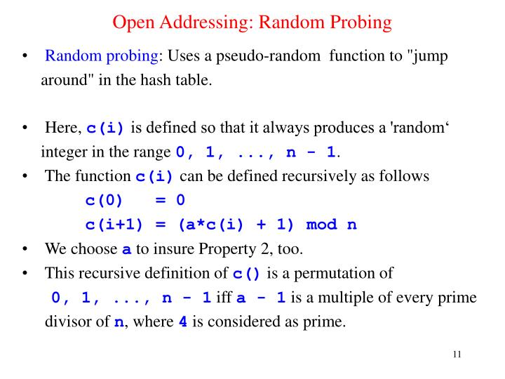 Open Addressing: Random Probing