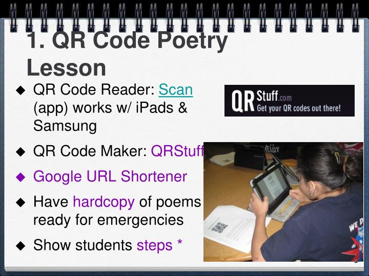 1. QR Code Poetry Lesson