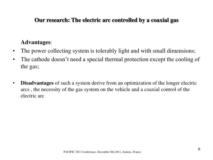 Our research: The electric arc controlled by a coaxial gas