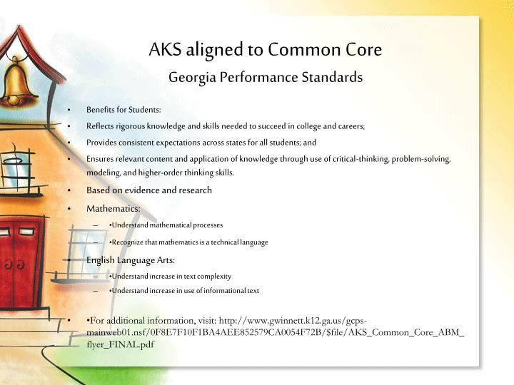 AKS aligned to Common Core