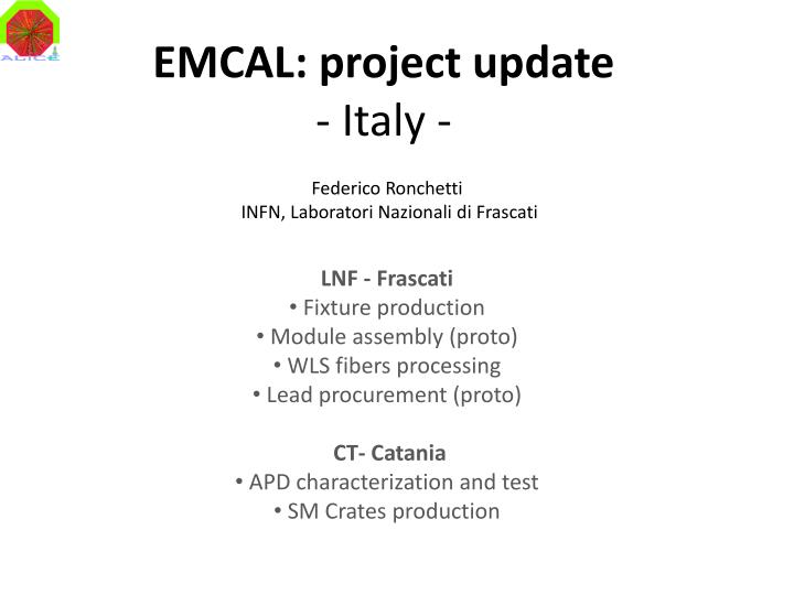 Emcal project update italy
