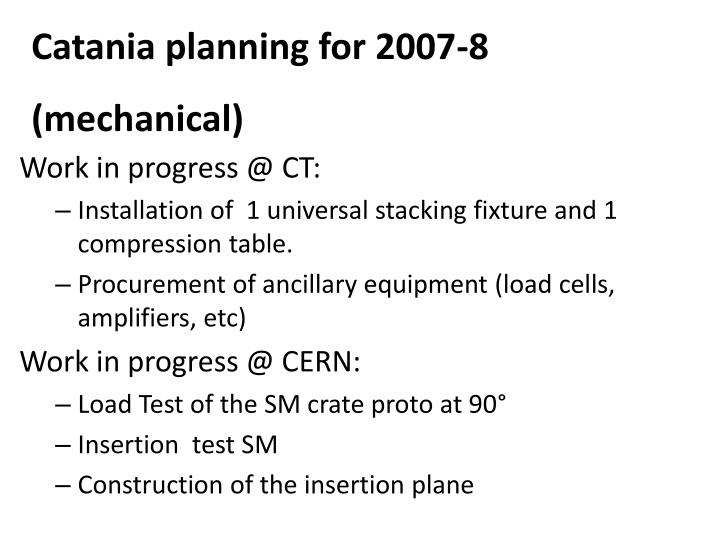 Catania planning for 2007-8