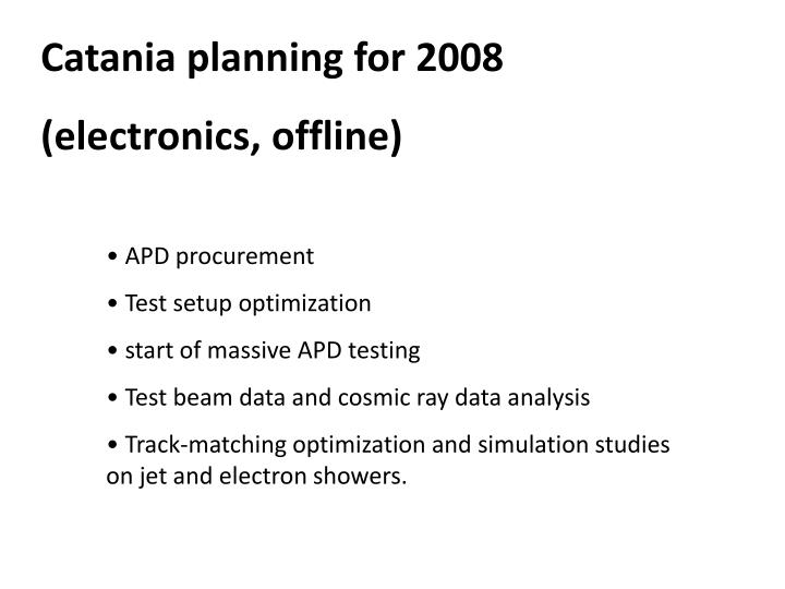 Catania planning for 2008