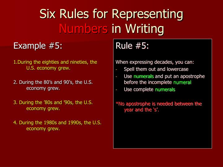 rule for writing numbers Mla ~ titles, numbers, and abbreviations this is an overview rules for placing between quotation marks: -place between quotation marks if: writing numbers always spell out numbers in: -centuries.