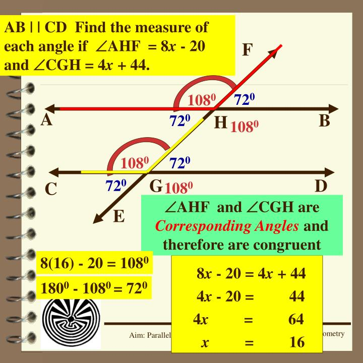 AB | | CD  Find the measure of each angle if