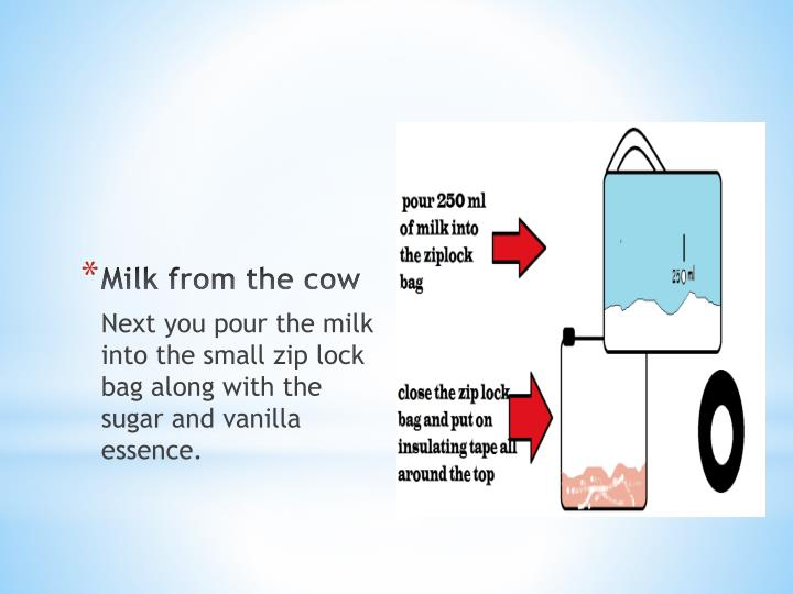 Milk from the cow