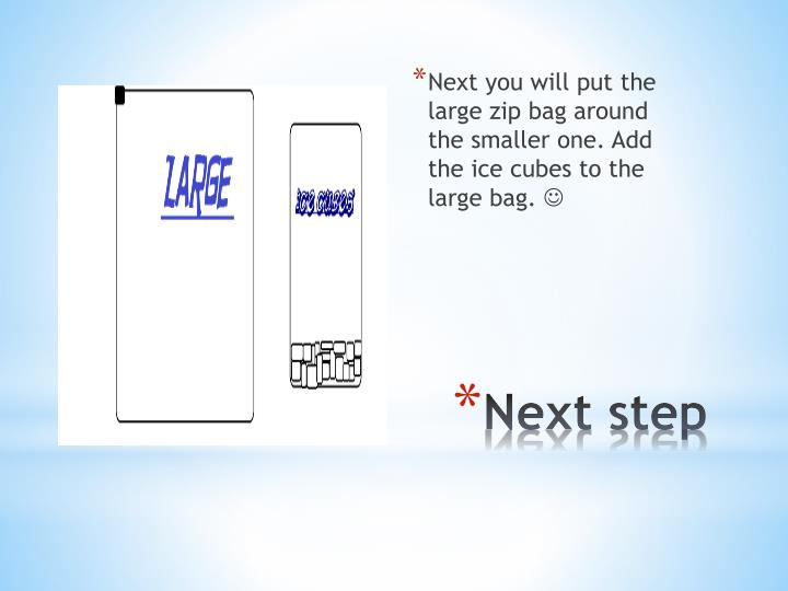 Next you will put the large zip bag around the smaller one. Add the ice cubes to the large bag.