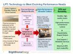 lpt technology to meet evolving performance needs