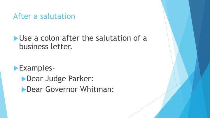 After a salutation