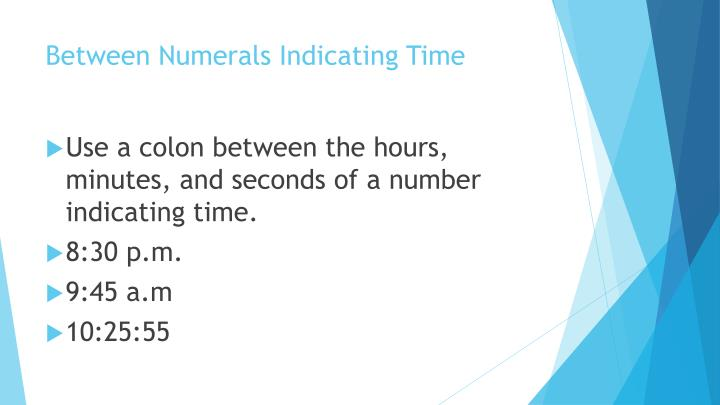 Between numerals indicating time