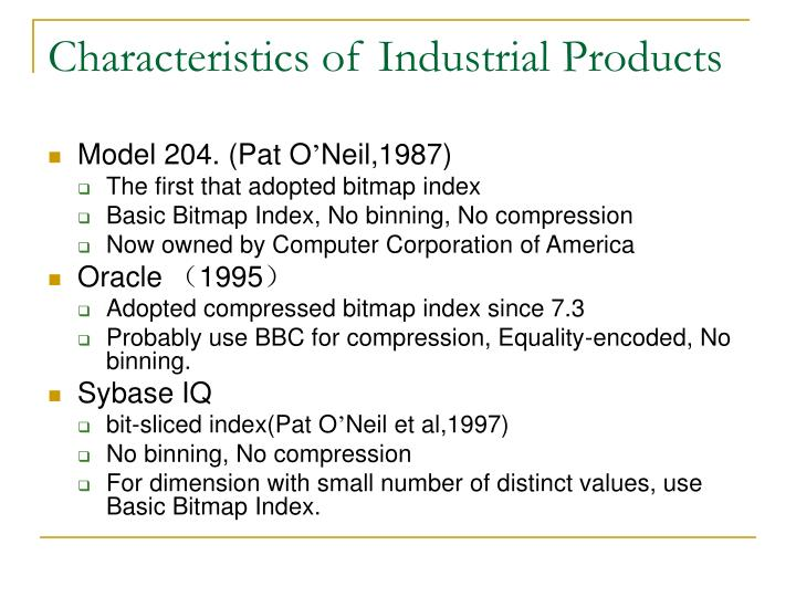 Characteristics of Industrial Products