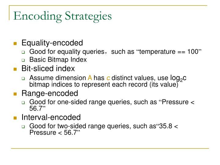 Encoding Strategies
