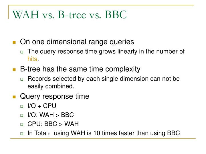 WAH vs. B-tree vs. BBC