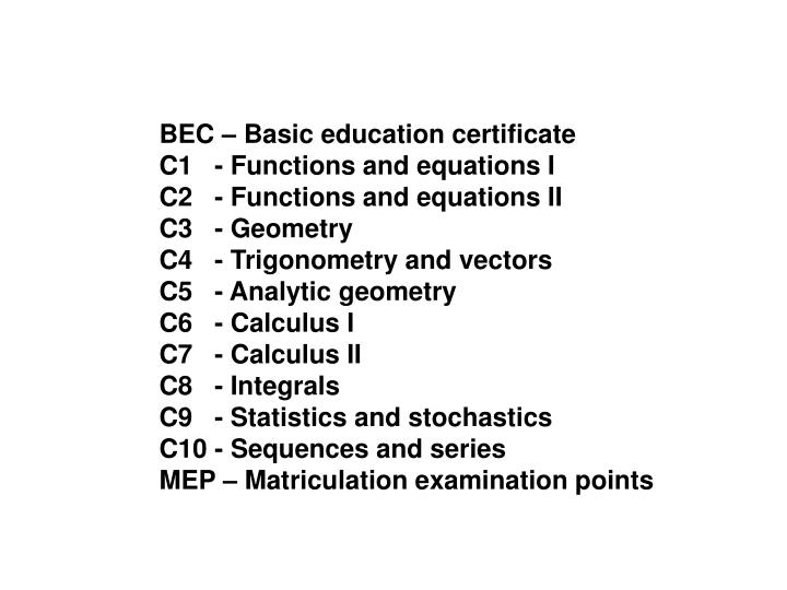 BEC – Basic education certificate