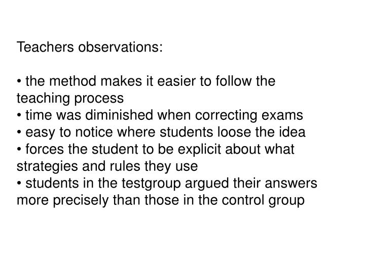 Teachers observations: