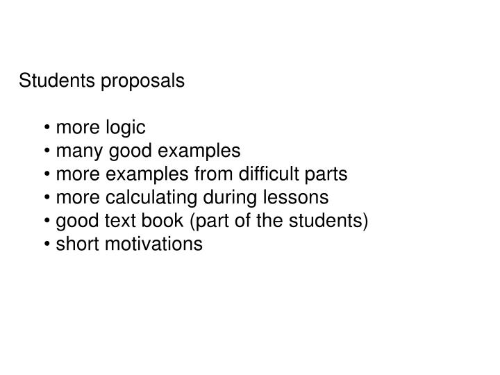 Students proposals