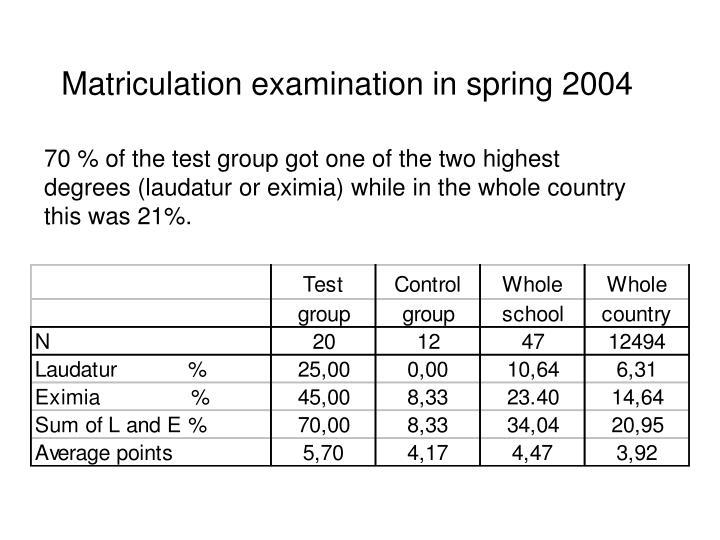 Matriculation examination