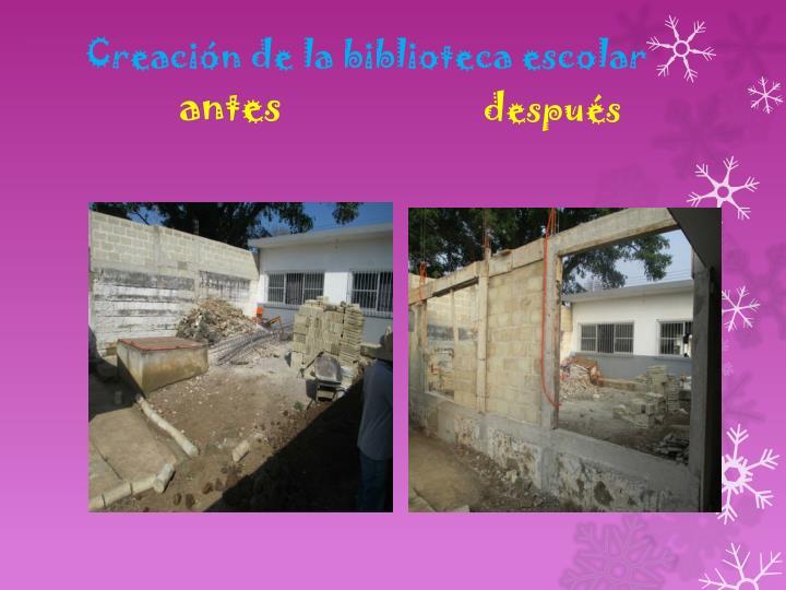 Creación de la biblioteca escolar
