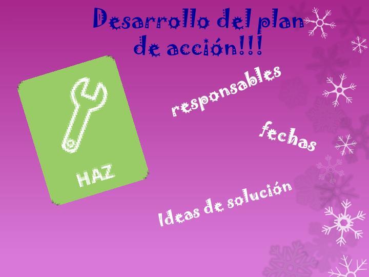 Desarrollo del plan de acción!!!