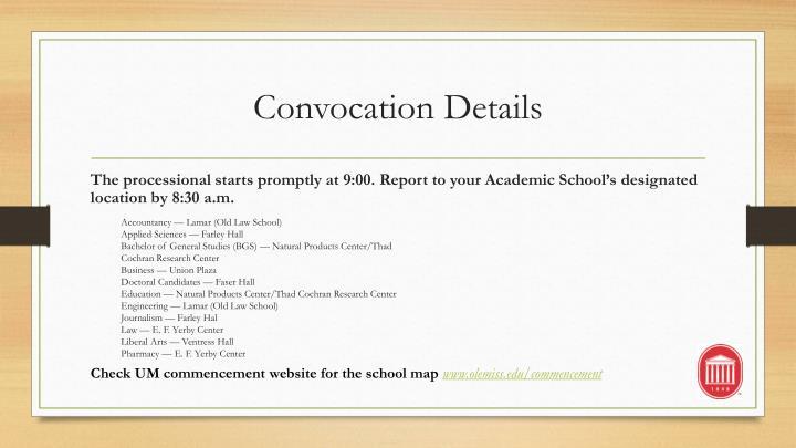 Convocation Details