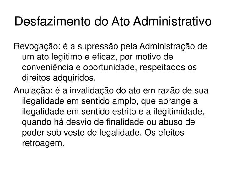 Desfazimento do Ato Administrativo
