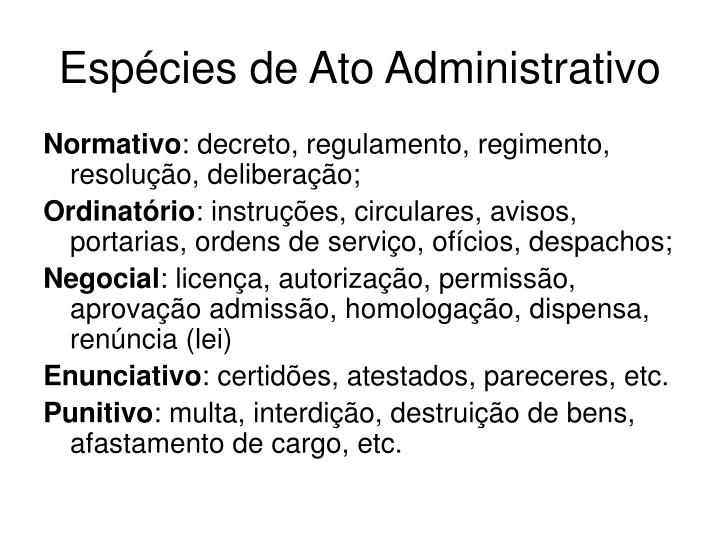 Espécies de Ato Administrativo