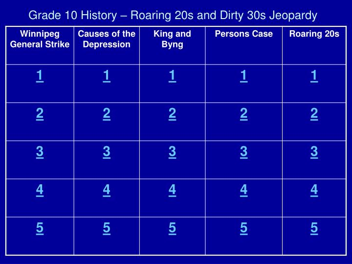 Grade 10 history roaring 20s and dirty 30s jeopardy