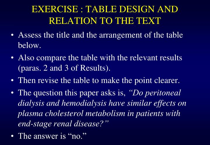 EXERCISE : TABLE DESIGN AND RELATION TO THE TEXT