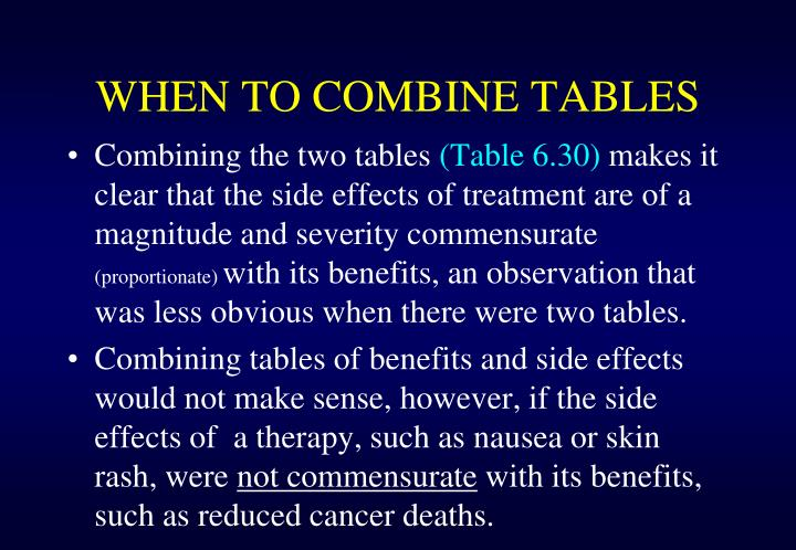 WHEN TO COMBINE TABLES