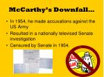 mccarthy s downfall