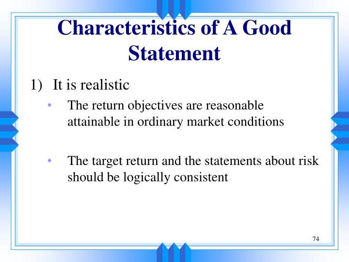 Characteristics of A Good Statement