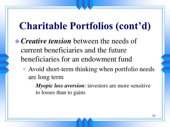 Charitable Portfolios (cont'd)