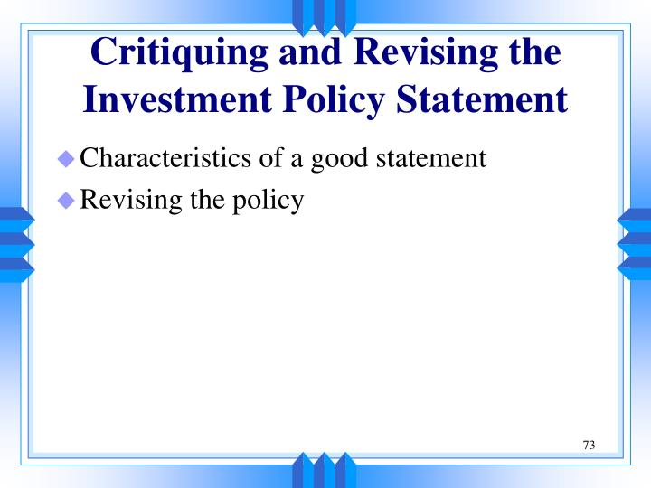 Critiquing and Revising the Investment Policy Statement