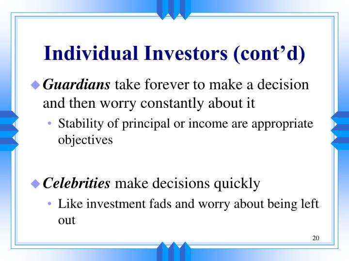 Individual Investors (cont'd)