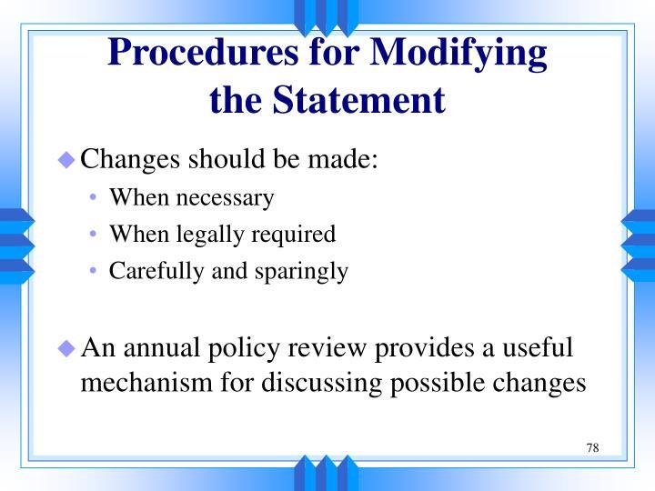 Procedures for Modifying