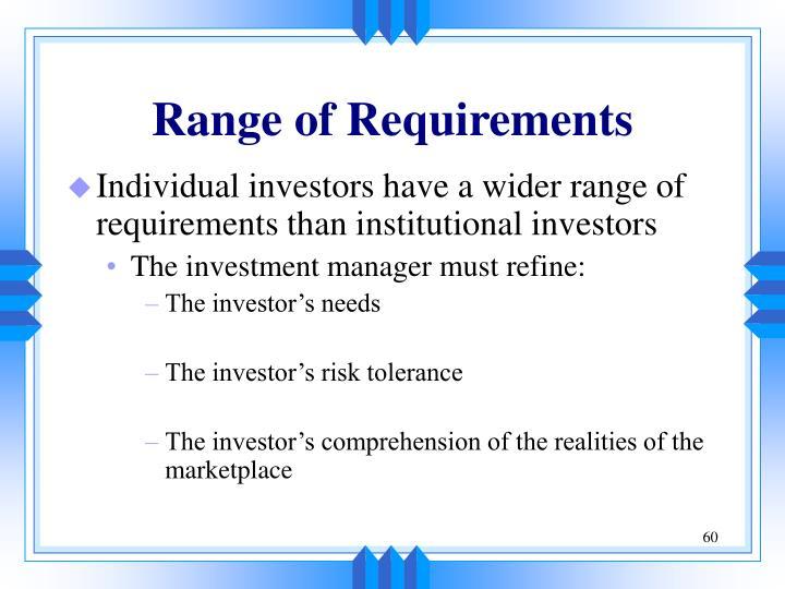 Range of Requirements