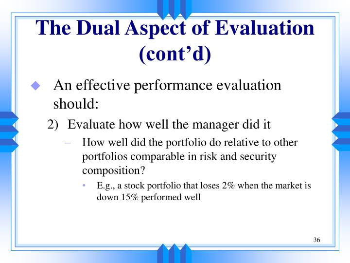 The Dual Aspect of Evaluation (cont'd)