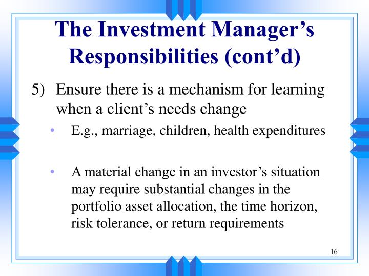 The Investment Manager's Responsibilities (cont'd)