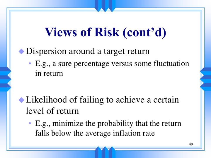 Views of Risk (cont'd)