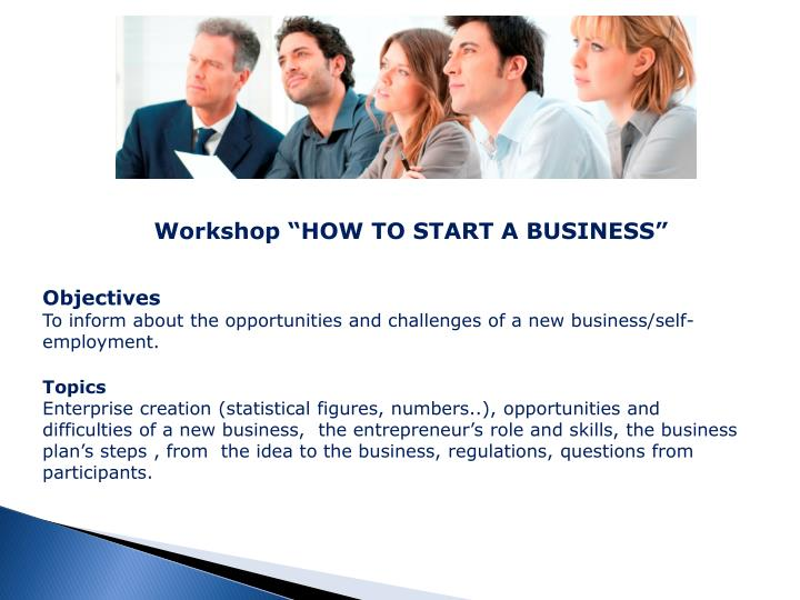 """Workshop """"HOW TO START A BUSINESS"""""""