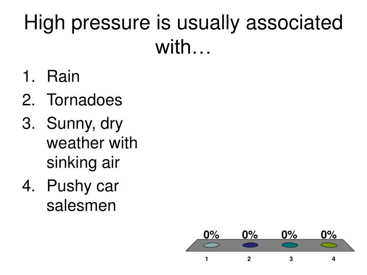 High pressure is usually associated with…