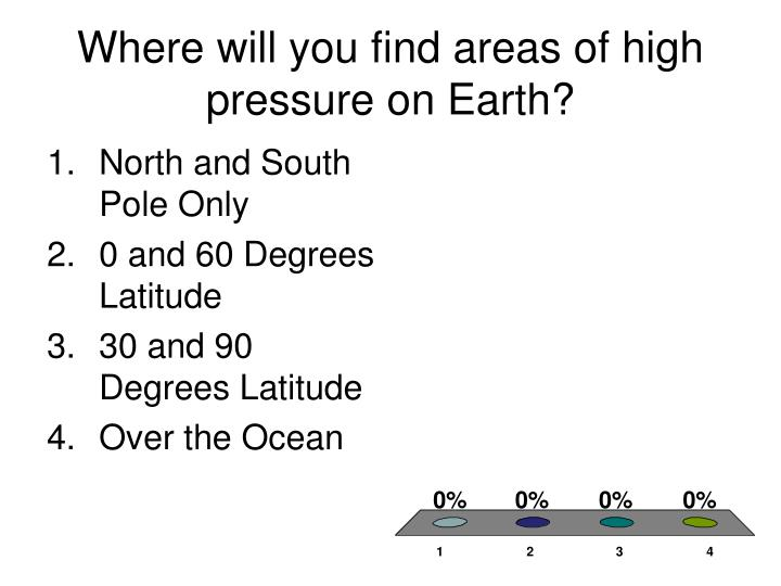 Where will you find areas of high pressure on Earth?