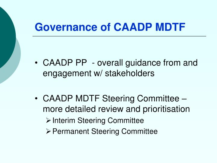 Governance of CAADP MDTF