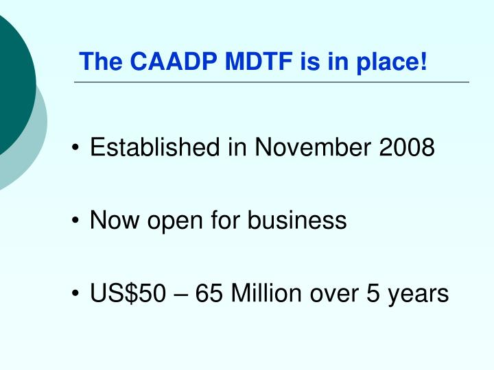 The caadp mdtf is in place